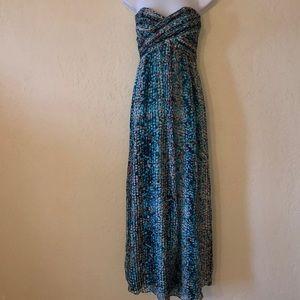 LAUNDRY silk long strapless LONG MAXI DRESS- 0